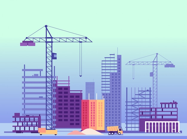 Building process. unfinished buildings and construction machines. vector illustration Premium Vector