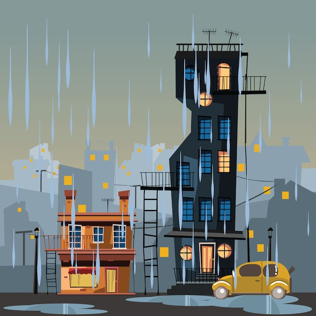 Building in rainy day vector illustration Premium Vector