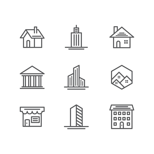 Building and real estate icons Free Vector