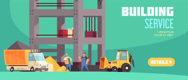 Building service horizontal web banner with truck of concrete tractor with bucket and workers at building construction flat  illustration Free Vector