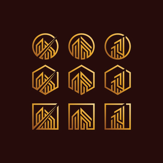 Building set logo gradients colour Premium Vector