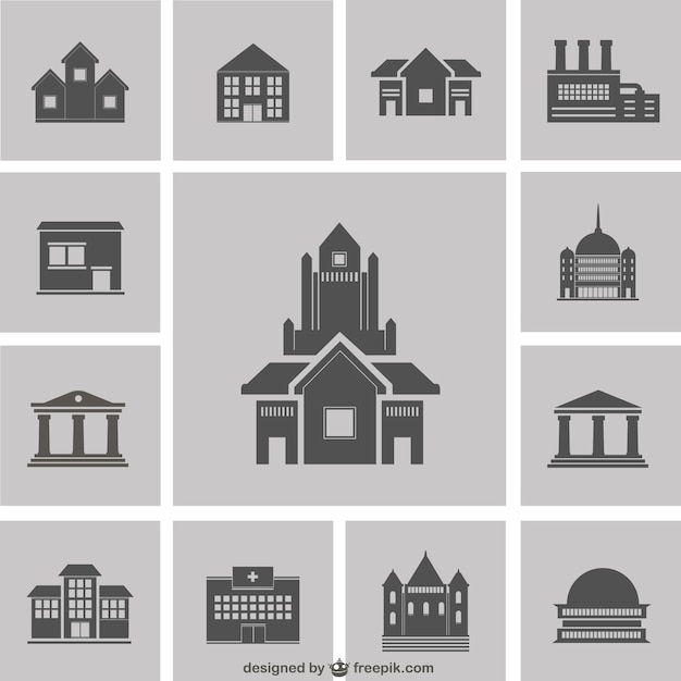 building silhouettes pack vector | free download