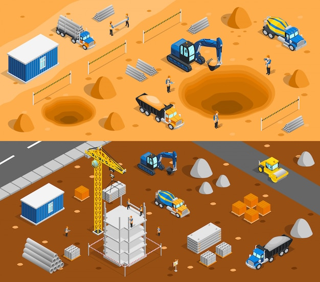 Building site banners set Free Vector