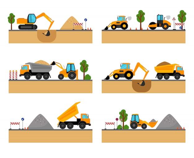 Building site machinery vector illustration Premium Vector