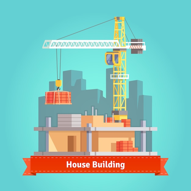 Building of skyscraper house with tower crane Free Vector