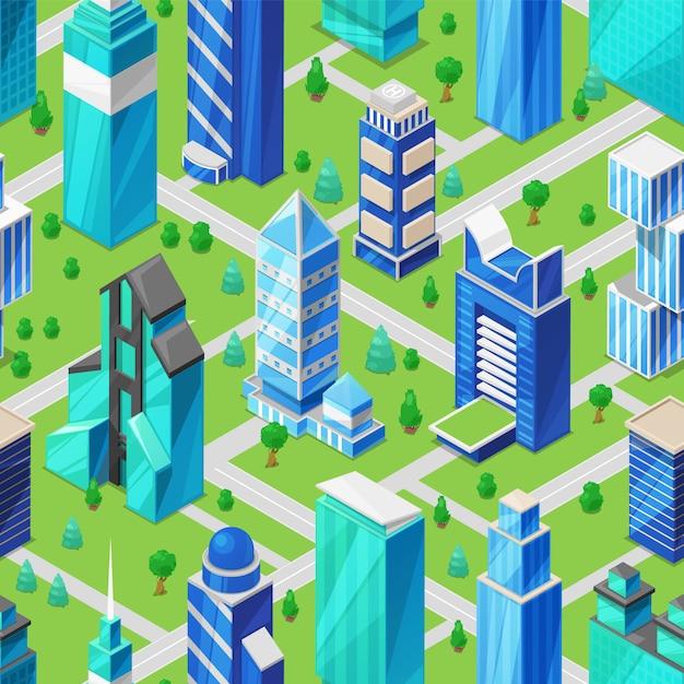 街並みアイソメ図の高層ビルを構築 Premiumベクター