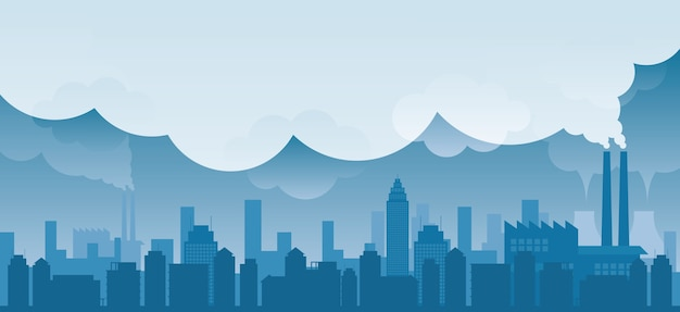 Building and skyscraper skyline with factory Premium Vector