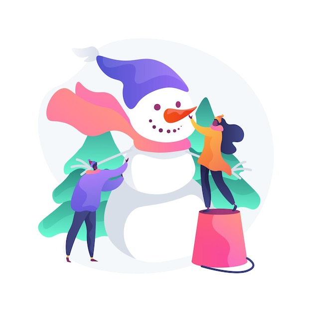 Building a snowman abstract concept   illustration. fun activity, winter season entertainment, christmas holiday, building with snow, create snowman, family outdoor leisure Free Vector