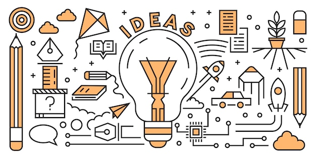 Building startup flat line design concept. startup elements doodle geometric. Premium Vector