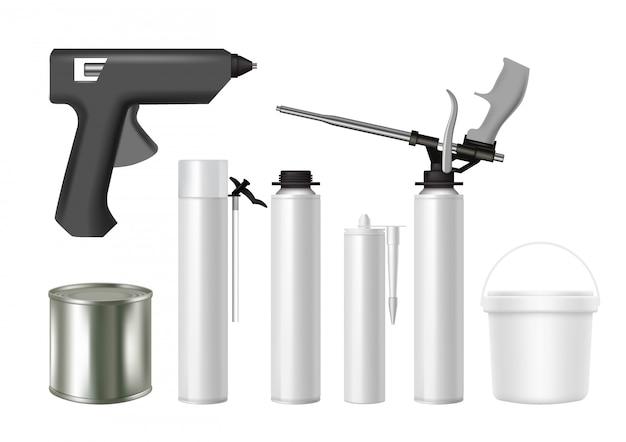 Строительный инструмент и упаковочный материал реалистичный набор Premium векторы
