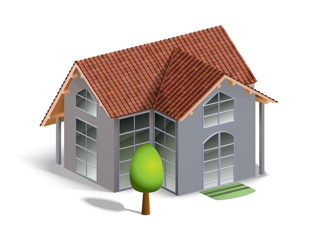 Edificio e albero isolato su bianco con dettagli Vettore gratuito