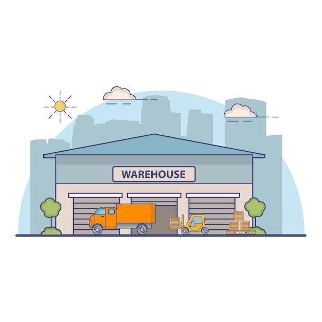 Building of a warehouse with truck on delivery and the fork loader. Premium Vector