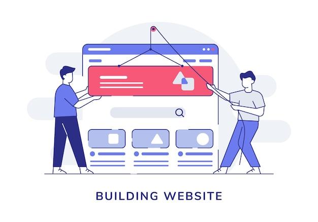 Создание веб-сайта для совместной работы персонажей, программист, разработчик, каркас пользовательского интерфейса со стилем контура Premium векторы