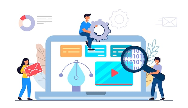 Building website project as programming homepage process abstract design work web elements layout