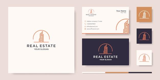 Здание с концепцией линии. городское здание аннотация для логотипа вдохновения. дизайн визитки Premium векторы