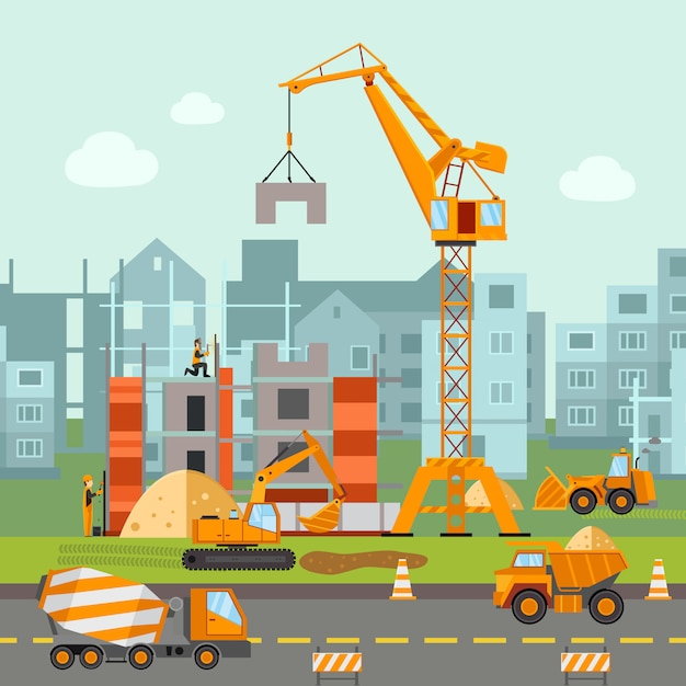 Building work illustration Free Vector