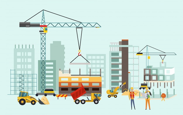 Building work process with houses and construction machines Premium Vector