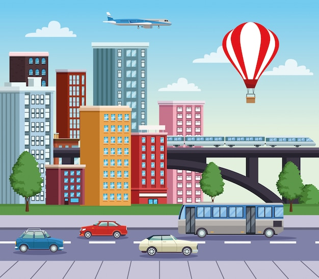 Buildings cityscape with road and means of transport Premium Vector