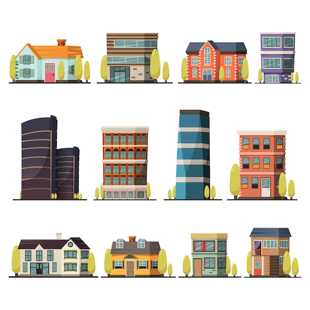 Buildings collection Free Vector