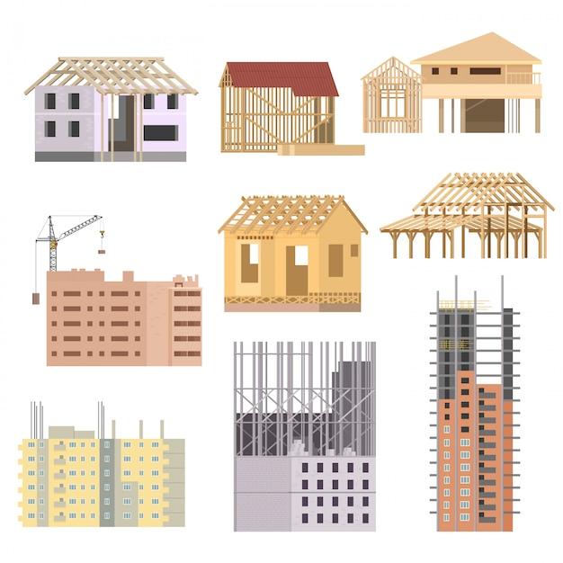 Buildings under construction Premium Vector