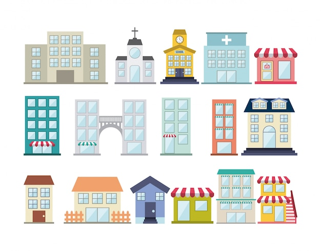 Buildings design over white background vector illustration Premium Vector