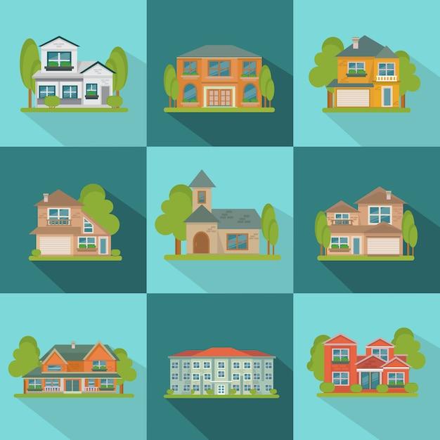 Здания плоский икона set Бесплатные векторы