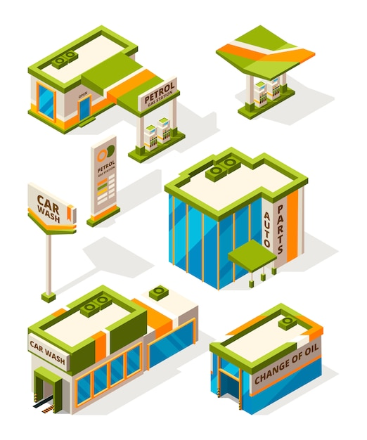 Buildings of gas service. exterior of fuel station constructions. isometric pictures set Premium Vector