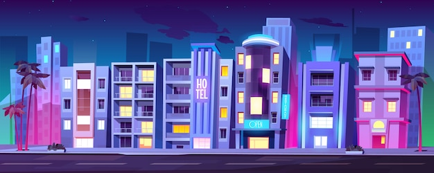 Buildings, hotels in miami at night summer time, Free Vector