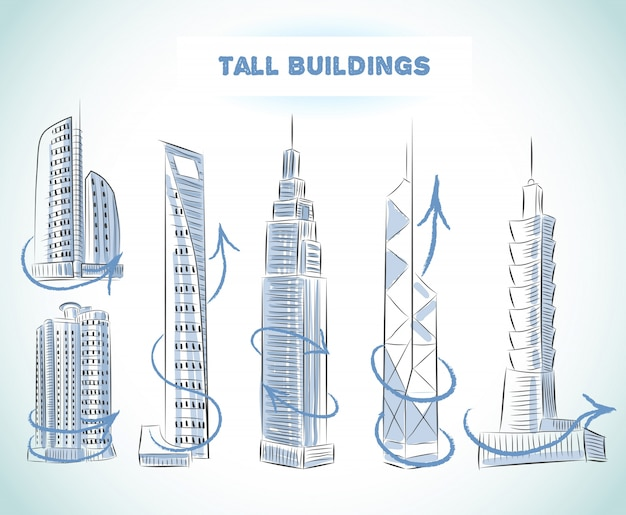 Buildings icons set of modern skyscrapers isolated sketch Free Vector