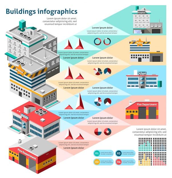 Buildings infographics set Free Vector