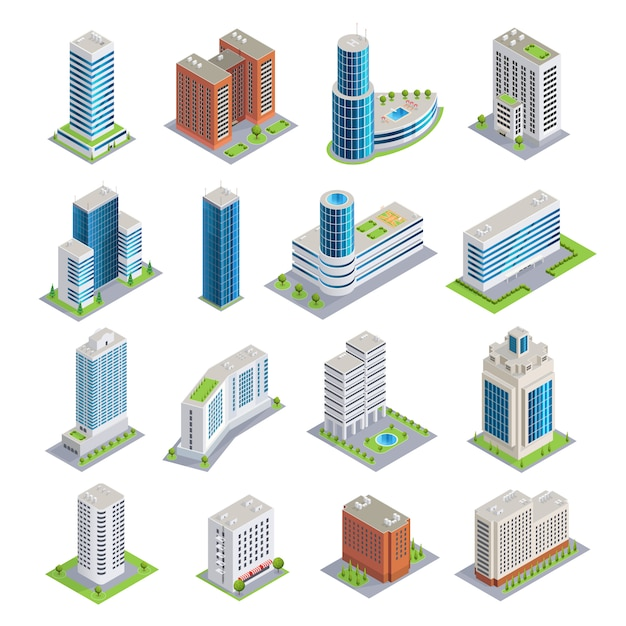Buildings isometric set Free Vector