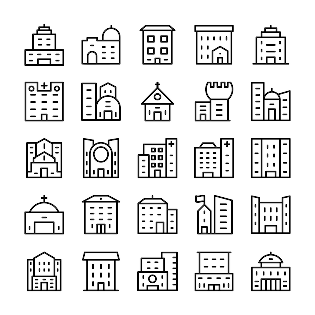 Buildings, landmarks line icons Premium Vector