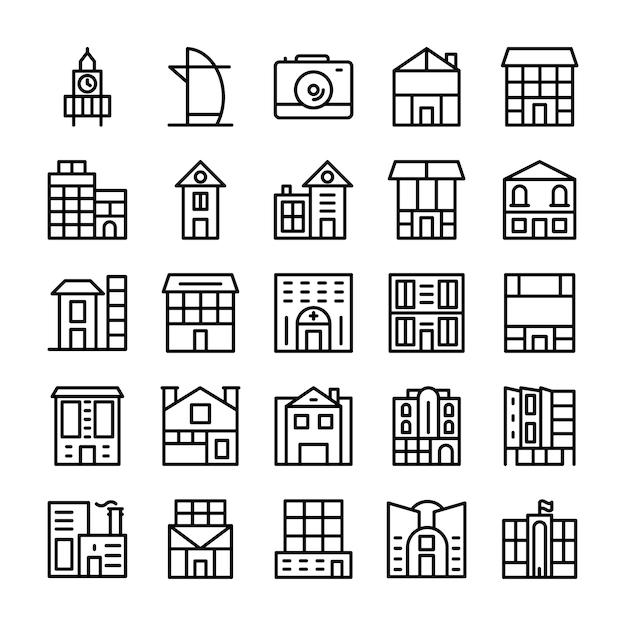 Buildings, landmarks line icons Premium Vector
