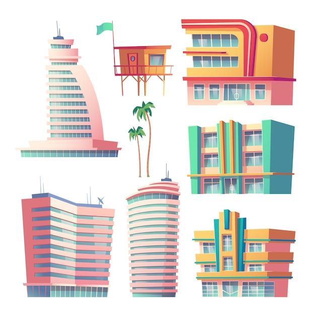 Edifici, moderni hotel a miami in estate Vettore gratuito