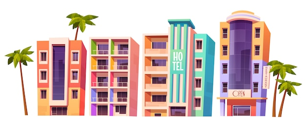 Buildings, modern hotels in miami at summer time Free Vector
