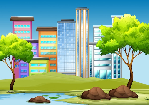 Buildings and park in the city Free Vector