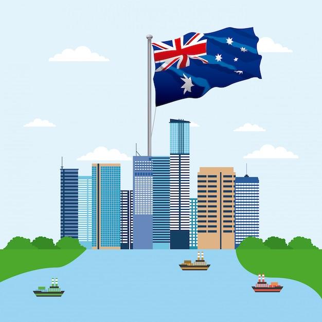 Горизонты зданий с флагом австралии Бесплатные векторы