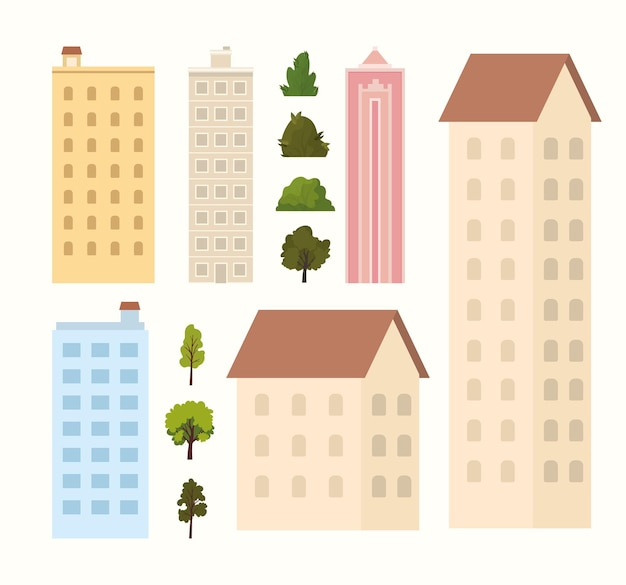 Buildings, trees and bushes on a white background  illustration Premium Vector
