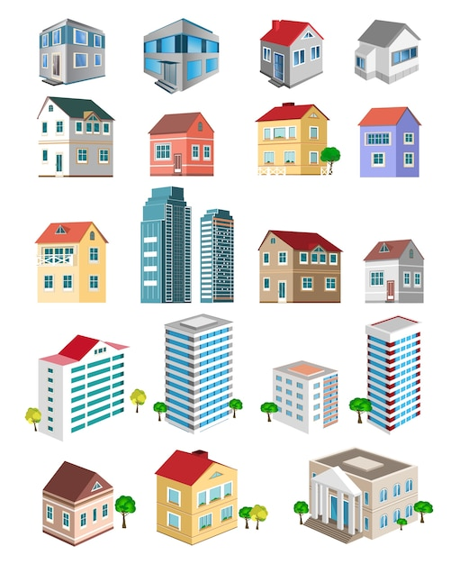 Buildings with different types of perspective. Premium Vector