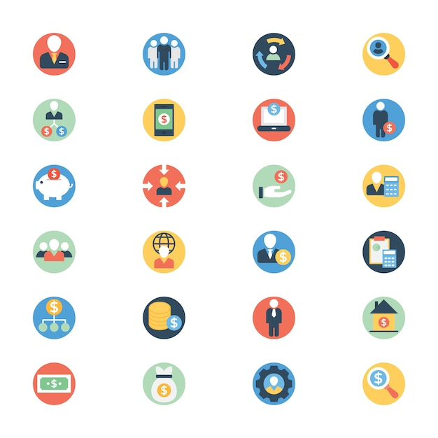 Buinessperson flat rounded icons pack Premiumベクター
