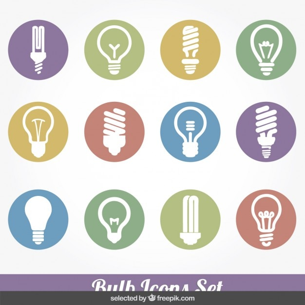 Bulb colorful icons collection Free Vector