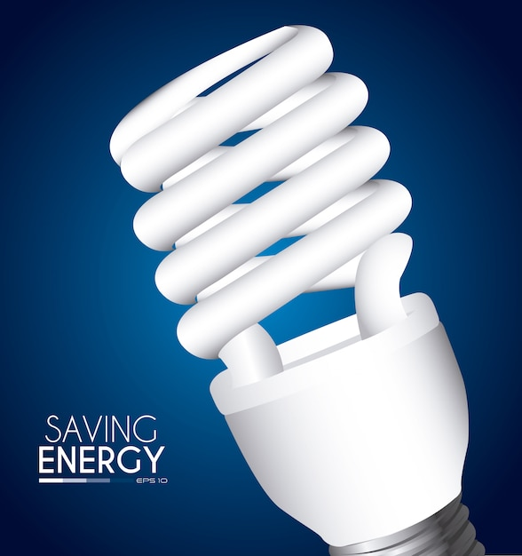 Bulb design over blue Free Vector