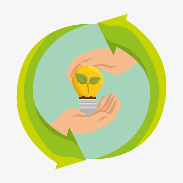 Bulb energy ecology icons Free Vector