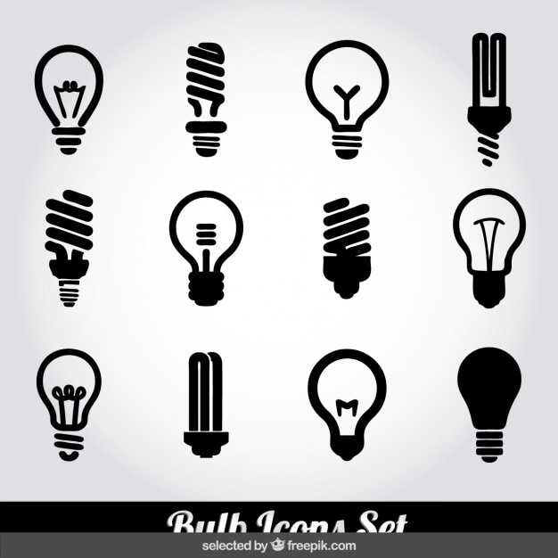 Bulb icons set Free Vector