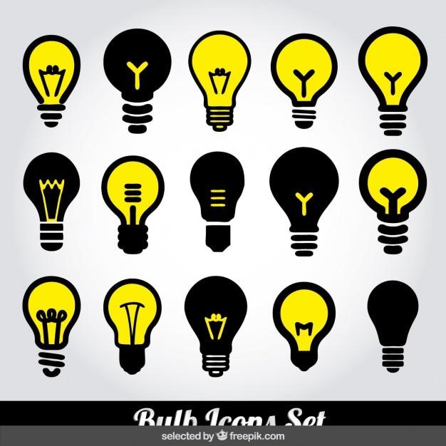 Bulb icons set Free Vector