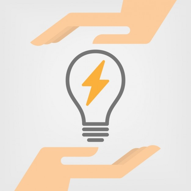 Bulb with battery sign Free Vector