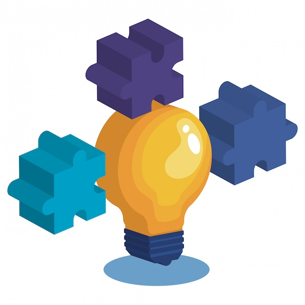 Bulb with puzzle game pieces Free Vector