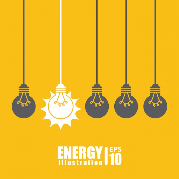 Bulb over yellow  background Free Vector
