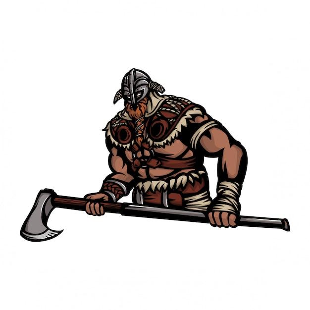 Bulky nordic warrior half body with axes Premium Vector