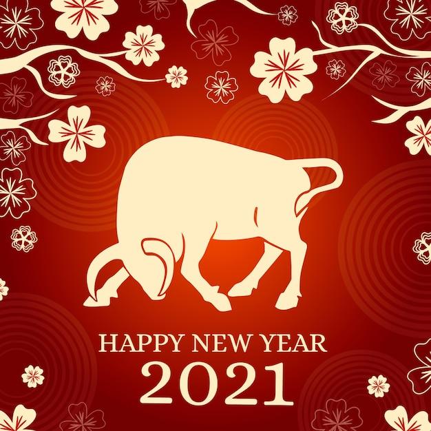 Бык и цветы с вьетнамским новым годом 2021 Бесплатные векторы